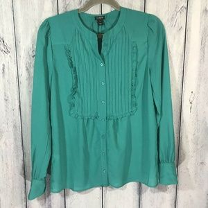 J. Crew Blouse Long Sleeve Button Up Pleated Front